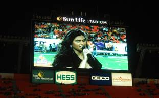 Natalia Sulca on the jumbotron.