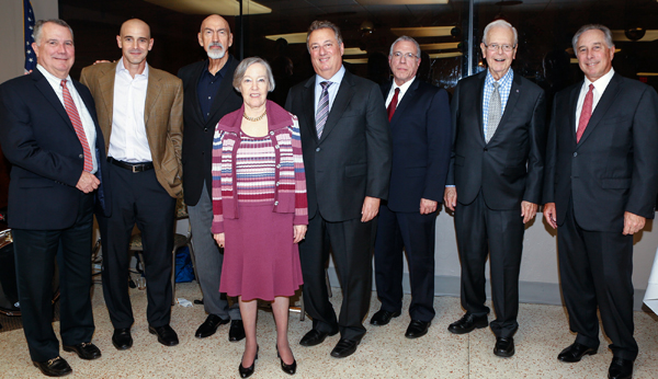 Past Board Chairs at the 2017 Annual Board Meeting. From left to right: Peter R. Harrison, Agustin Arellano, Jr., Charles J. Nielson, Sr., Donna Blaustein, Louis Nostro, Ramon (Ray) Casas, Owen S. Freed and William L. Morrison.