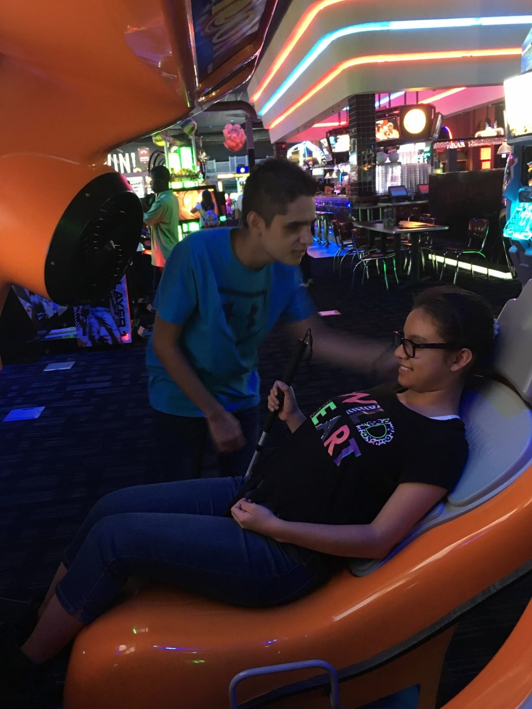 Pre-Employment Transition Services students Alejandro and Andrea at Dave and Busters Arcade