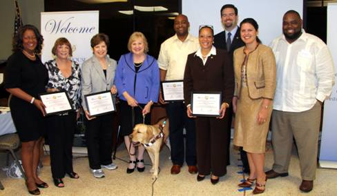 Florida Senators and Representatives received plaques in recognition of their support of Miami Lighthouse programs (from left to right) Representative Barbara Watson, Senator Gwen Margolis, Senator Nan Rich, CEO Virginia Jacko, Senator Oscar Braynon, Representative Cynthia Stafford, Representative Jose Felix Diaz, Doral Councilwoman Ana Maria Rodriguez and Representative Dwight Bullard.