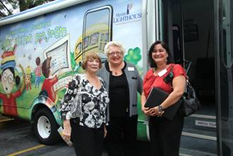 Senator Gwen Margolis tours the Heiken mobile eye care unit with Miami Lighthouse staff member Brenda Williamson and Maria Delgado, aide to Miami-Dade County School board member Dr. Martin Karp.