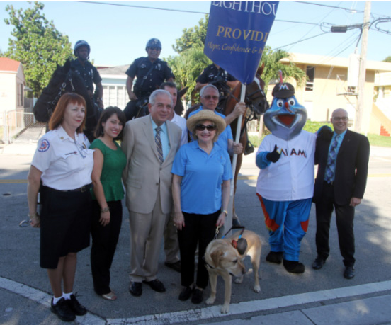City of Miami Senior Fire Inspector Kathy Daegling, CBS 4 Reporter Lauren Pastrana, City of Miami Mayor Tomas P. Regalado, CEO Virginia Jacko, Billy the Marlin, Florida State Representative David Richardson, City of Miami Police Department