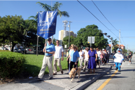 White Cane Day participants during the walk
