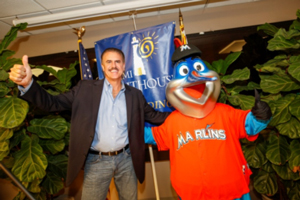 Emcee Ron Magill with Grand Marshall Billy the Marlin