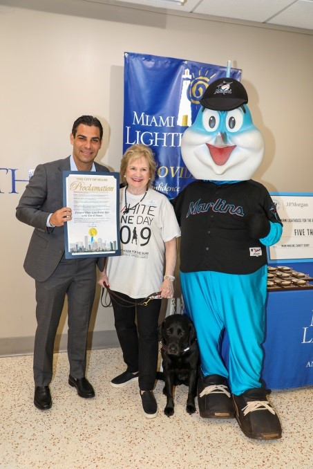 City of Miami Mayor Francis X. Suarez, President & CEO Virginia A. Jacko, and Billy the Marlin